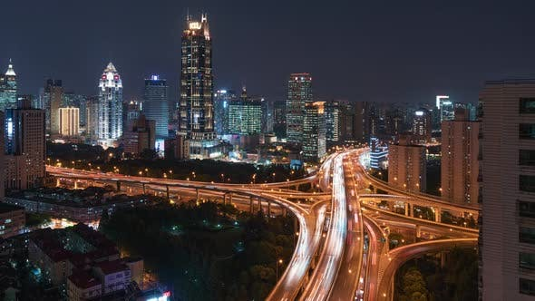 Thumbnail for Shanghai, China - Above Shanghai Highway's Traffic