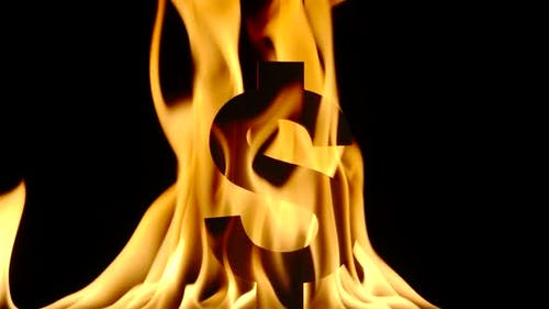 Brennendes US-Dollar-Symbol