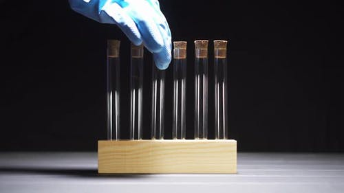 Close-up of a Gloved Hand Pulls a Test Tube From the Stand