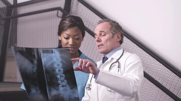 Thumbnail for CU Doctor holding xray and discussing with nurse in hospital / London, United Kingdom