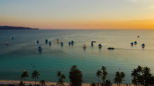 Thumbnail for Sunset Over the Sea. Boracay, Philippines. Timelapse