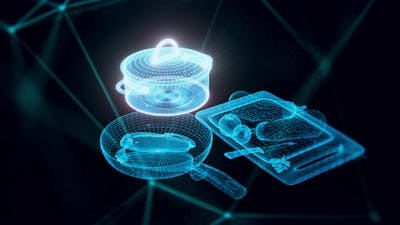 Kitchenware With Pan And Pot Hologram Close Up 4k