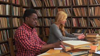 Mixed Race Students are Studying with Laptop