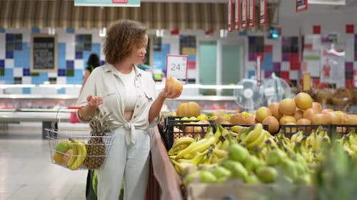 Opening Store, Woman with Grocery Basket Gets Fresh Vegetables Supermarket