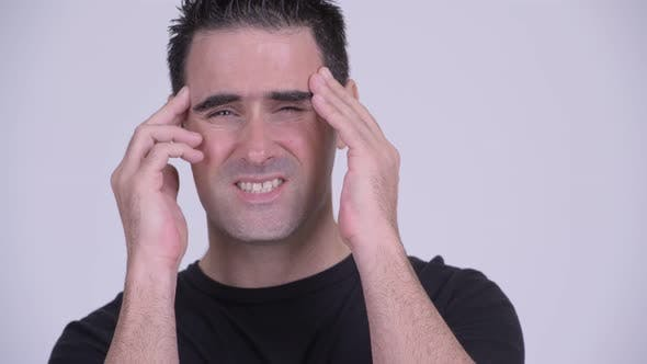 Thumbnail for Face of Stressed Man Having Headache Against White Background