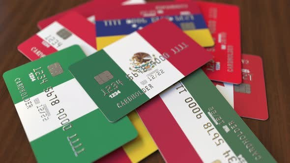 Thumbnail for Emphasized Bank Card with Flag of Mexico
