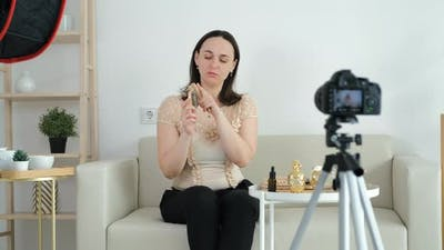 Female Recording a Tutorial Video for Beauty Blog