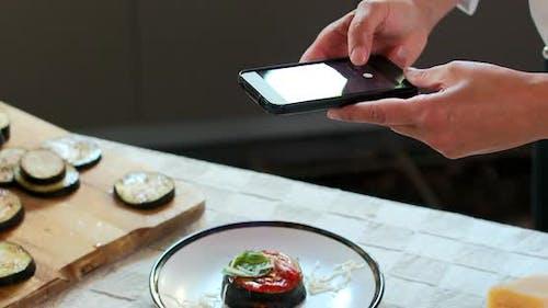 Photographing eggplant