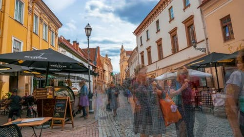 Time lapse view of the narrow street in the center of the old town of Vilnius