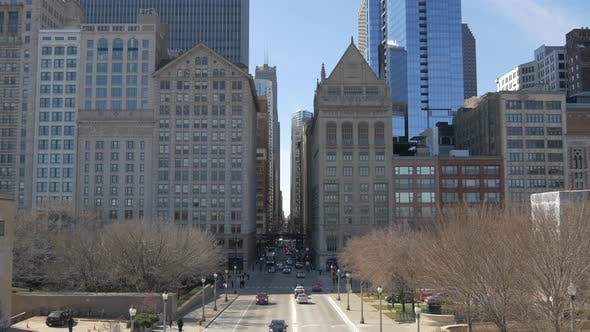 Thumbnail for High angle of a boulevard in Chicago