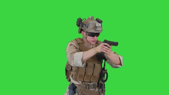 Thumbnail for American Ranger with Pistol Aiming and Shooting on a Green Screen, Chroma Key.