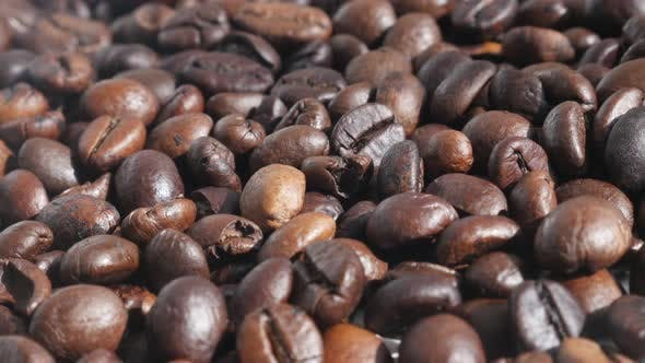 Roasted coffee beans 4K slow pannning footage