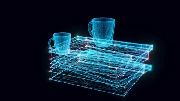 Stack Of Books And Mugs Hologram Rotating Hd