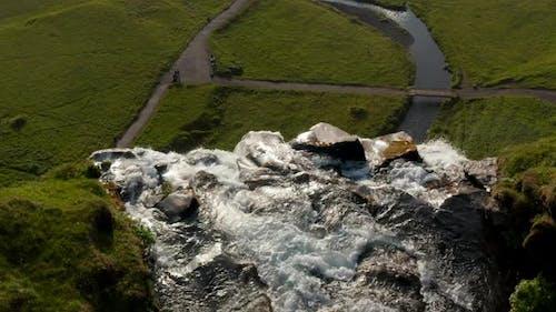 Breathtaking Bird Eye View of Skogafoss Waterfall in Iceland