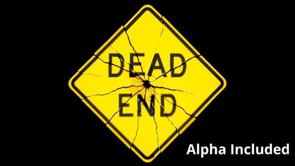 Thumbnail for Yellow Dead End Sign Shattering on Black with Matte