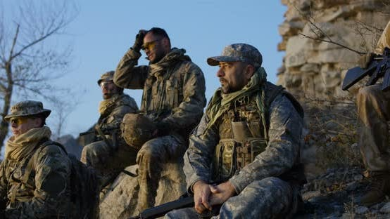 Thumbnail for Group Soldiers Taking a Break During an Assault