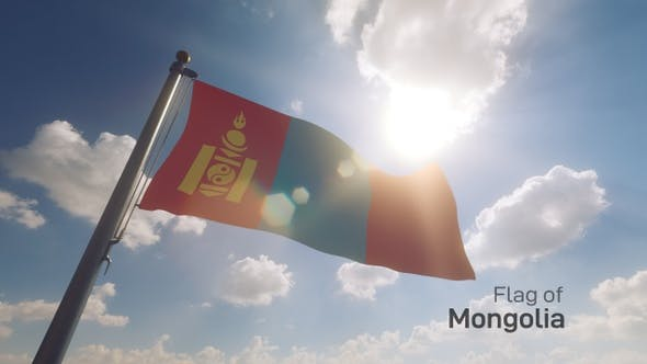 Thumbnail for Mongolia Flag on a Flagpole V2
