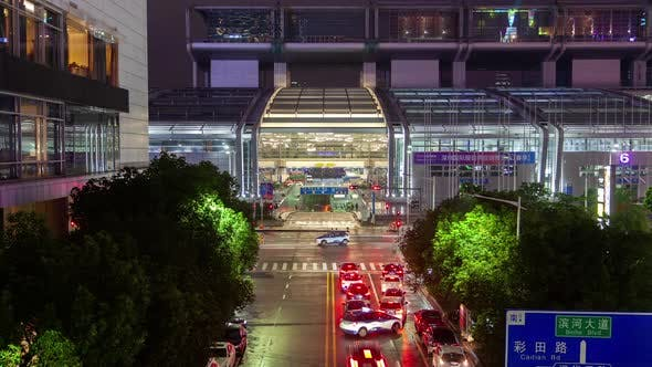Thumbnail for Timelapse Cars Drive Into Convention Exhibition Center