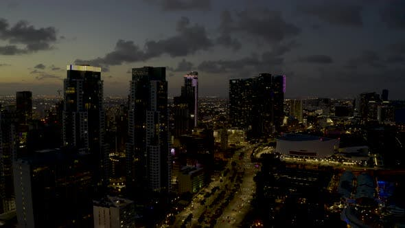 Downtown Miami Night Footage 4k