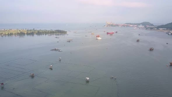 Thumbnail for Motion Over Pictorial Sea Bay with Fishing Boats and Nets