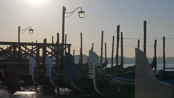 Thumbnail for Scene of Venice Dock with Gondolas Moored Near the Pier