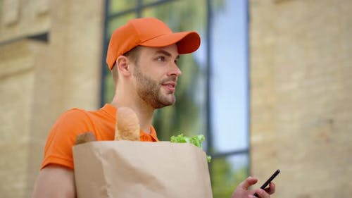 Courier Using Mobile Phone Searching Address
