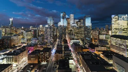 Toronto, Canada, Timelapse  - The Financial district of Toronto during the blue hour