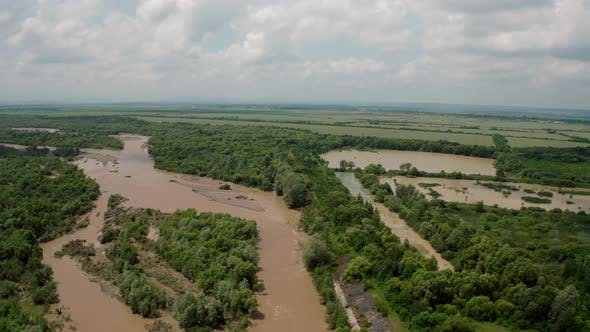 Thumbnail for Aerial Drone View. Rriver Water Big and Dirty After Heavy Rain. Wide View V2