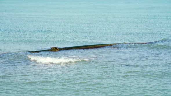 Beach Nourishment Hose Immersed in Sea Water