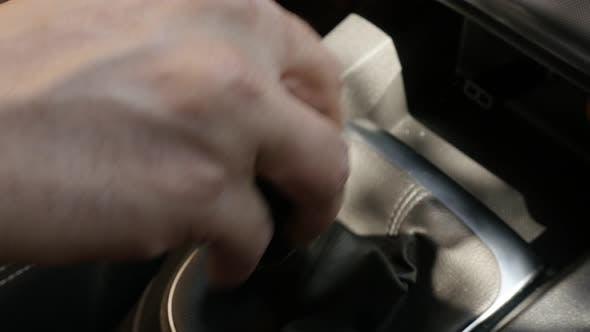 Gear changing in modern car 4K footage