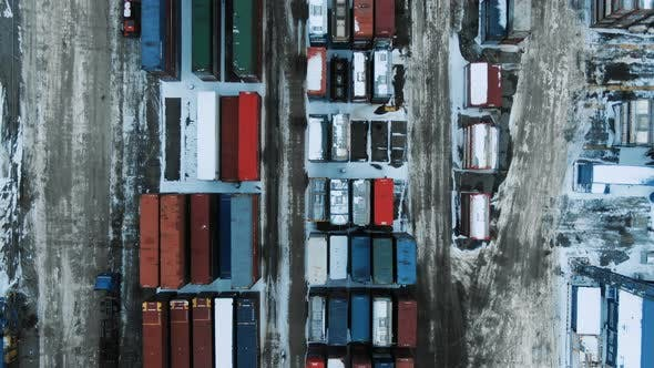 Aerial View Port Container Terminal Container Ship in Import Export and Business Logistic