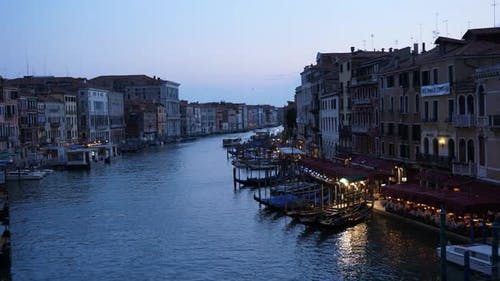 Grand Canal (Canal Grande) in the evening, Venice, Italy, Europe