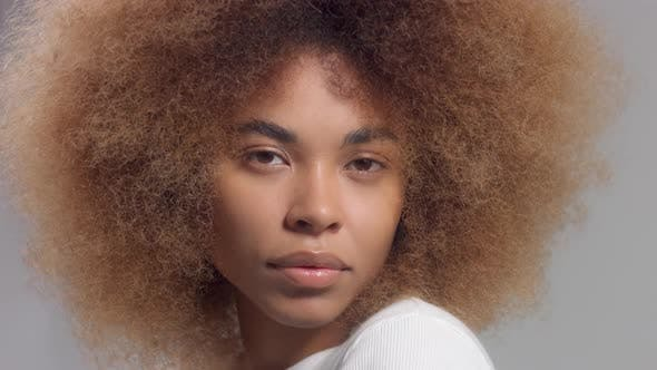 Closeup Portrait of Mixed Race Black Woman Watching To the Camera