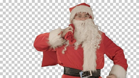 Thumbnail for Real Santa Claus carrying presents in his sack, Alpha Channel