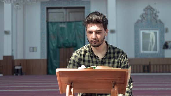 Muslim Man Reading Quran Mosque