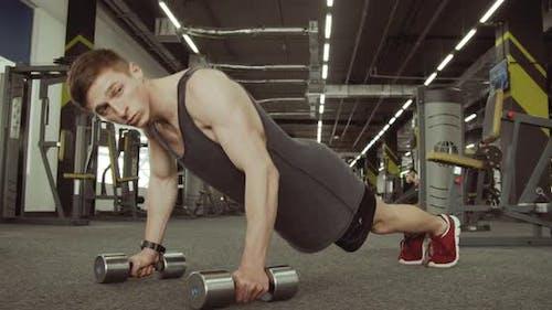 Sportsmen Dips in the Gym