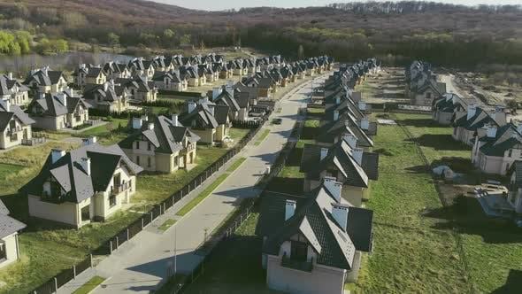 Thumbnail for Beautiful Settlement of Identical Houses with Beautiful Streets Near the Lake. Newly Built Mansions