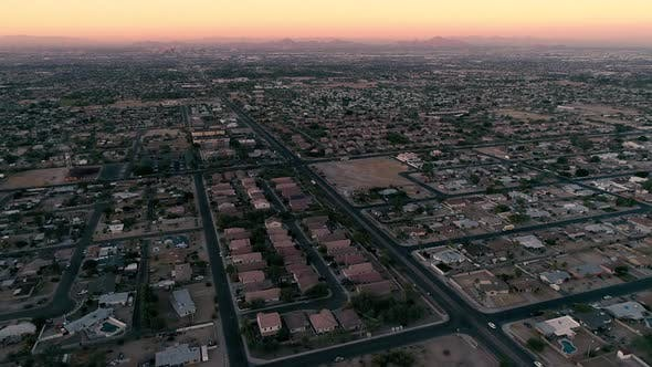 Thumbnail for Phoenix Neighborhoods Sunset Aerial With Camelback Mountain