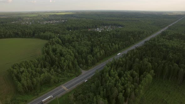 Thumbnail for Aerial Shot of Road Traffic in the Countryside, Russia