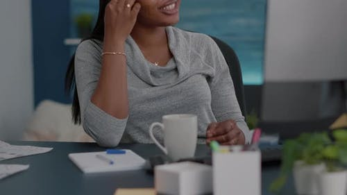 Black Student Having Online Videocall Teleconference Meeting Discussing Digital Education