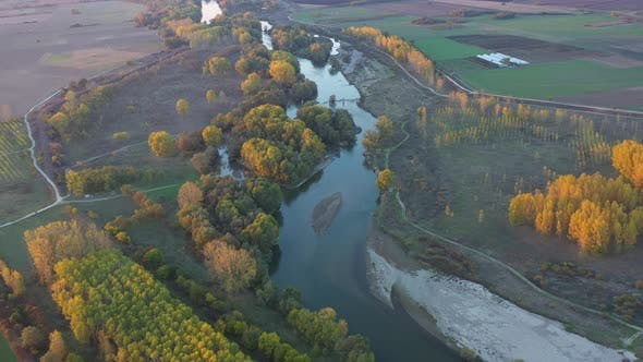 Flight Over Maritsa River In Bulgaria In Autumn Season