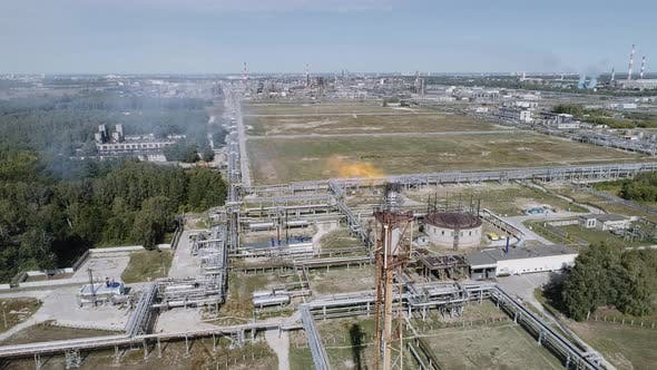 Flaring of Associated Gas at a Petrochemical Plant.