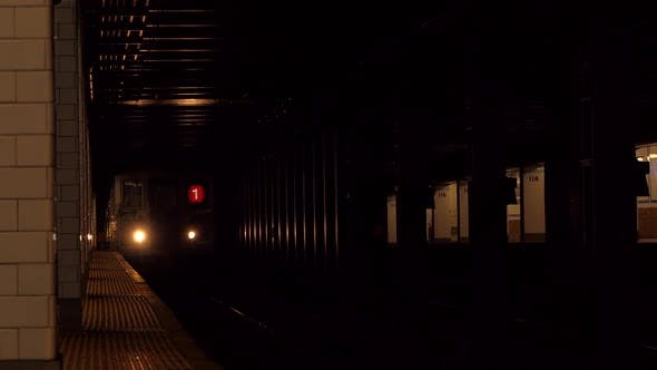 Thumbnail for NYC Subway Train Arriving from Tunnel