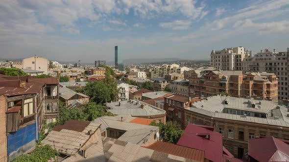 Thumbnail for Panorama Old Part Tbilisi City in Georgia with Tile Roofs and Modern Buildings and Skyscrapers