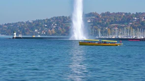 Thumbnail for The Jet d'Eau Or Water Jet Fountain, Lake Geneva, Switzerland
