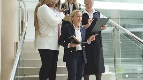 Adult Buisness Lady Give Directions To Diverse Employees, Young Friendly Coworking Team in Formal