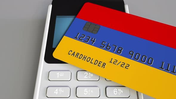 Cover Image for Bank Card with Flag of Armenia and POS Terminal