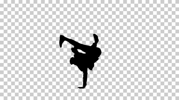 Thumbnail for Silhouette Man does break dance moves, Alpha Channel