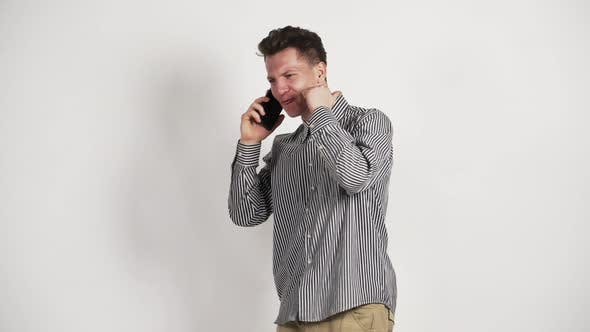 Young White Guy Shirt Talking Phone