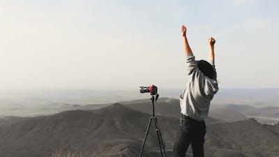 Young Photographer Happy Enjoy Landscape Photography